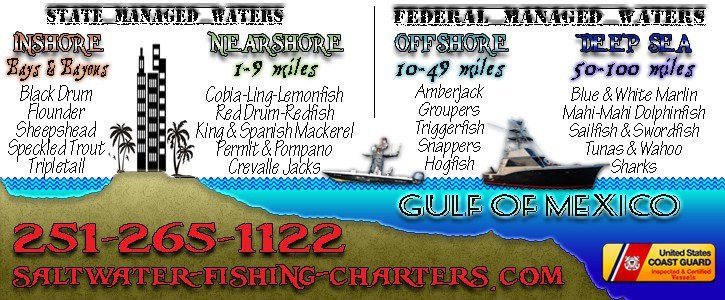 Saltwater Fishing Charter Areas in Orange Beach